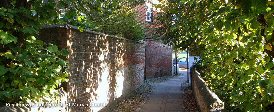 Patten Alley, adjacent to St Mary's church